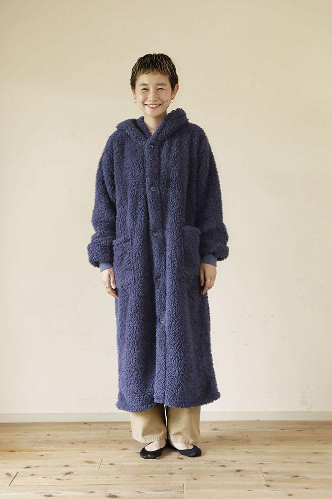 着る毛布 ロング丈 Lサイズ 女性 ネイビー
