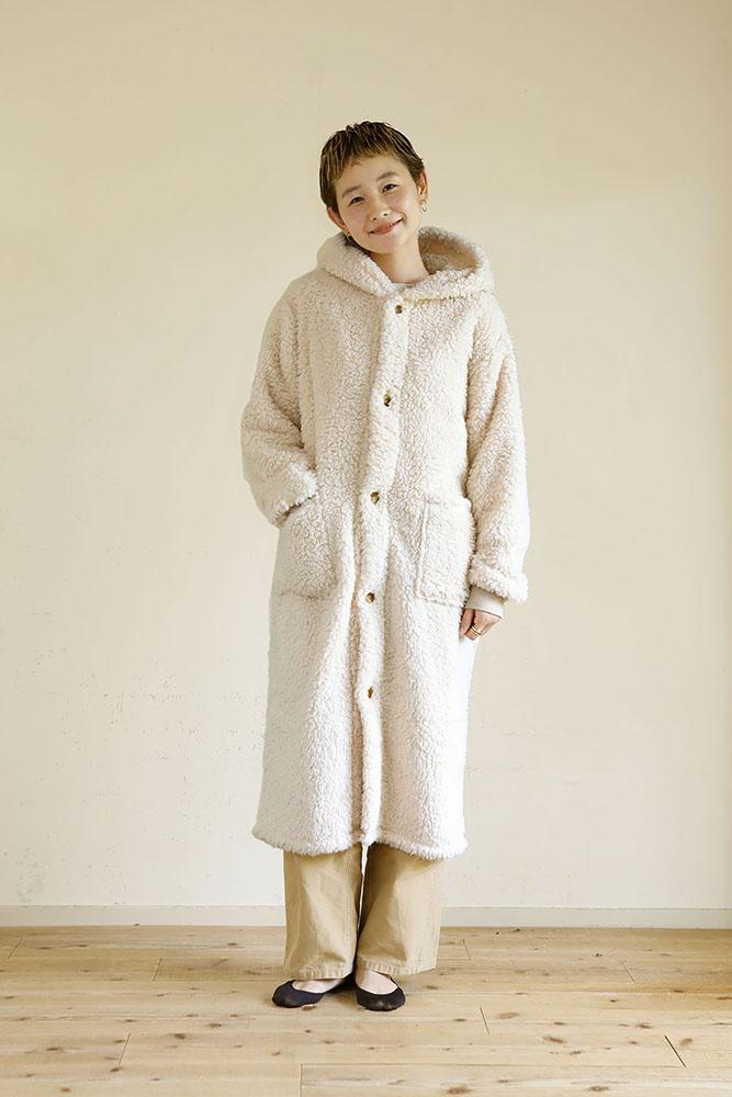 着る毛布 ロング丈 Mサイズ 女性 ベージュ