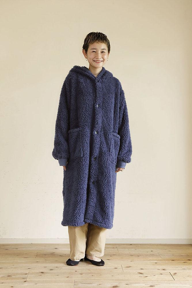 着る毛布 ロング丈 Mサイズ 女性 ネイビー