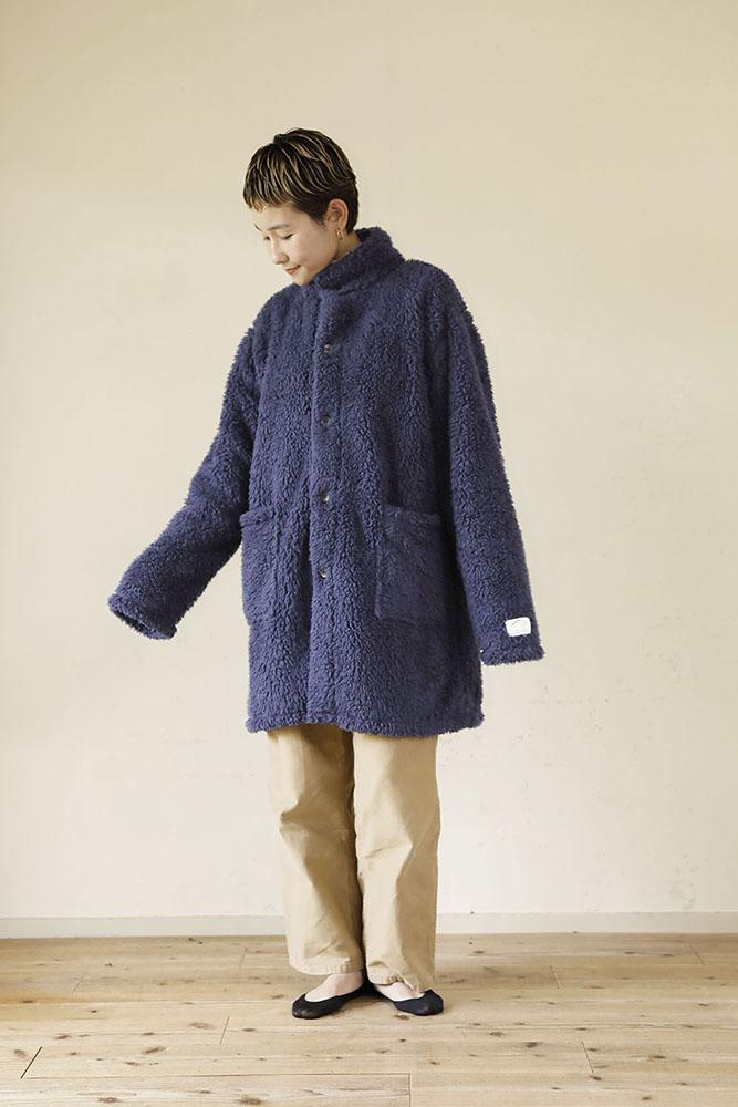 着る毛布 ショート丈 Lサイズ 女性 ネイビー