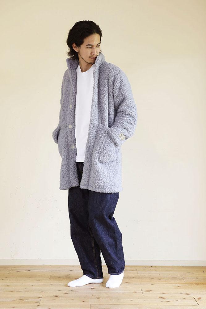 着る毛布 ショート丈 Mサイズ 男性 ライトグレー